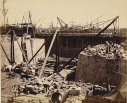View of communication passage from S. looking N. [Victoria Dock construction, Bombay].